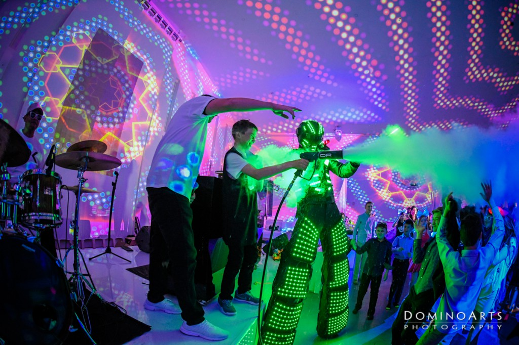 VIDEO PROJECTION MAPPING and LED robots at The Temple House Miami Mitzvah