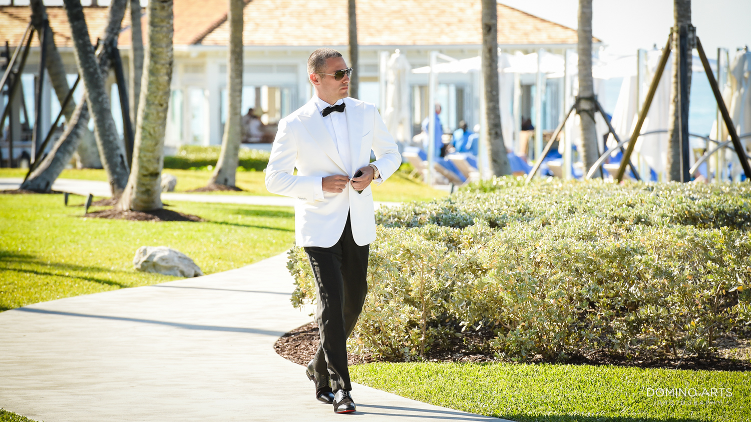 Cool wedding picture of groom at One&Only Ocean Club Bahamas