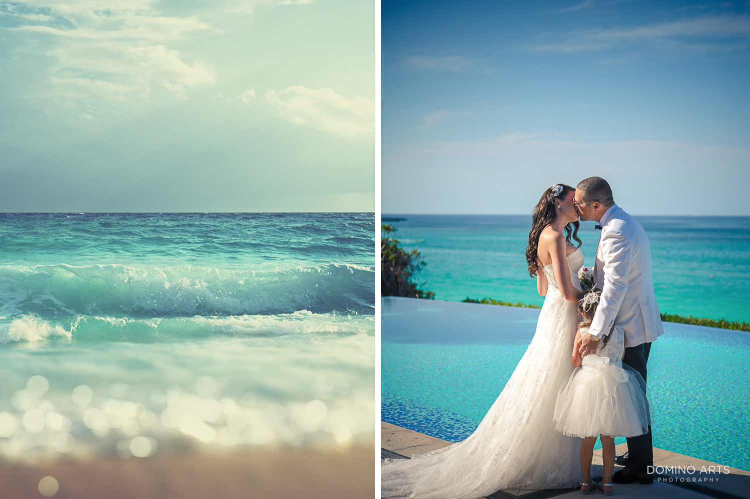 First look of bride and groom pictures at One&Only Ocean Club Bahamas