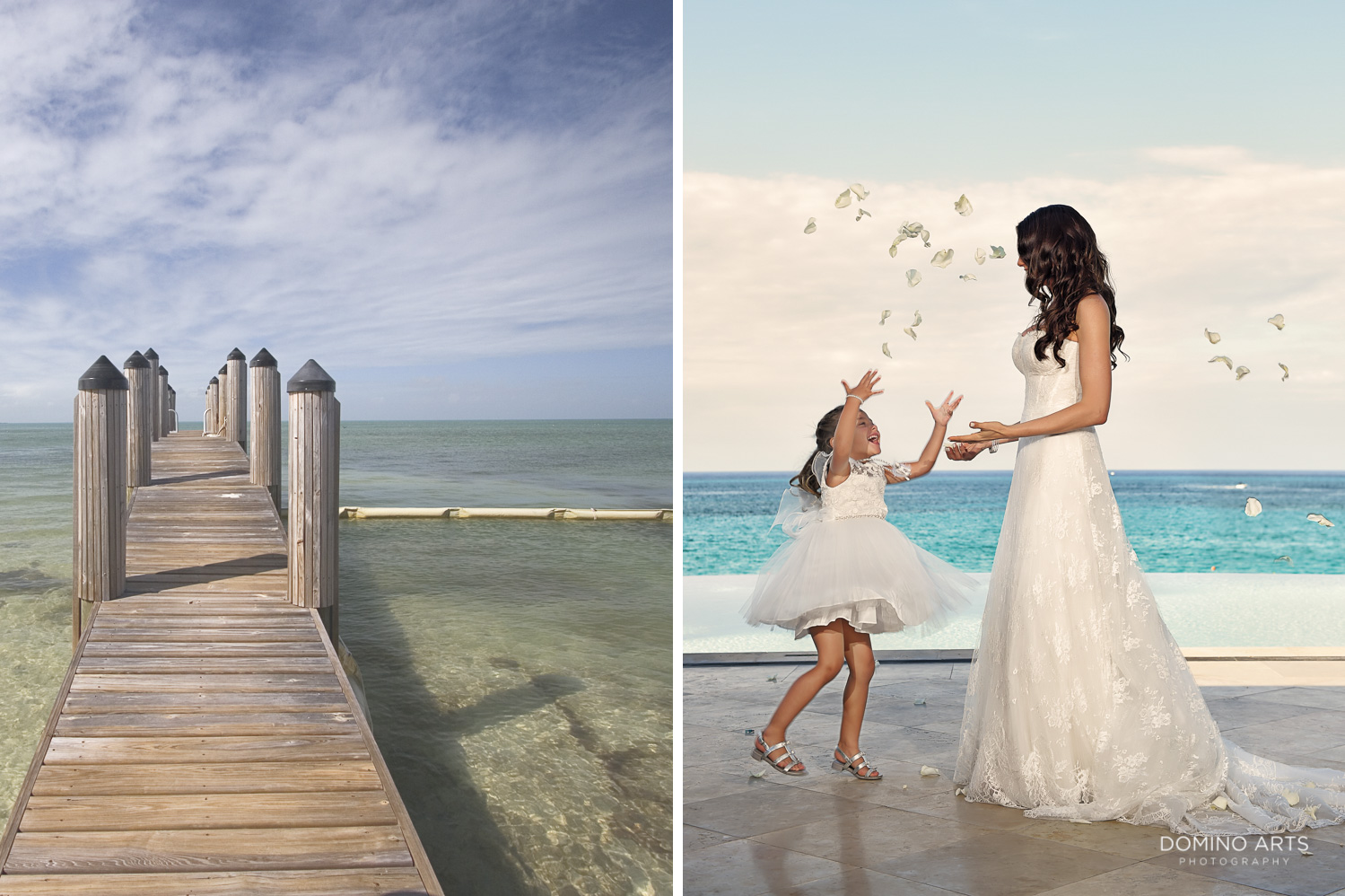 Flower girl and bride picture at One&Only Ocean Club Bahamas
