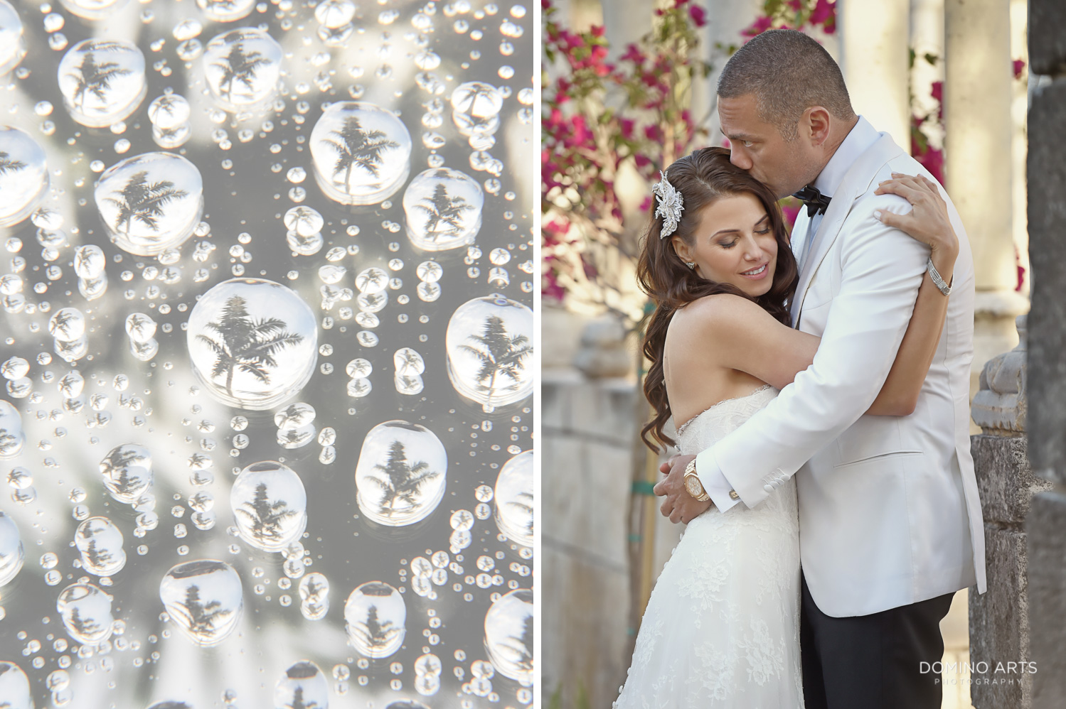 Artistic wedding picture of bride and groom at One&Only Ocean Club Bahamas