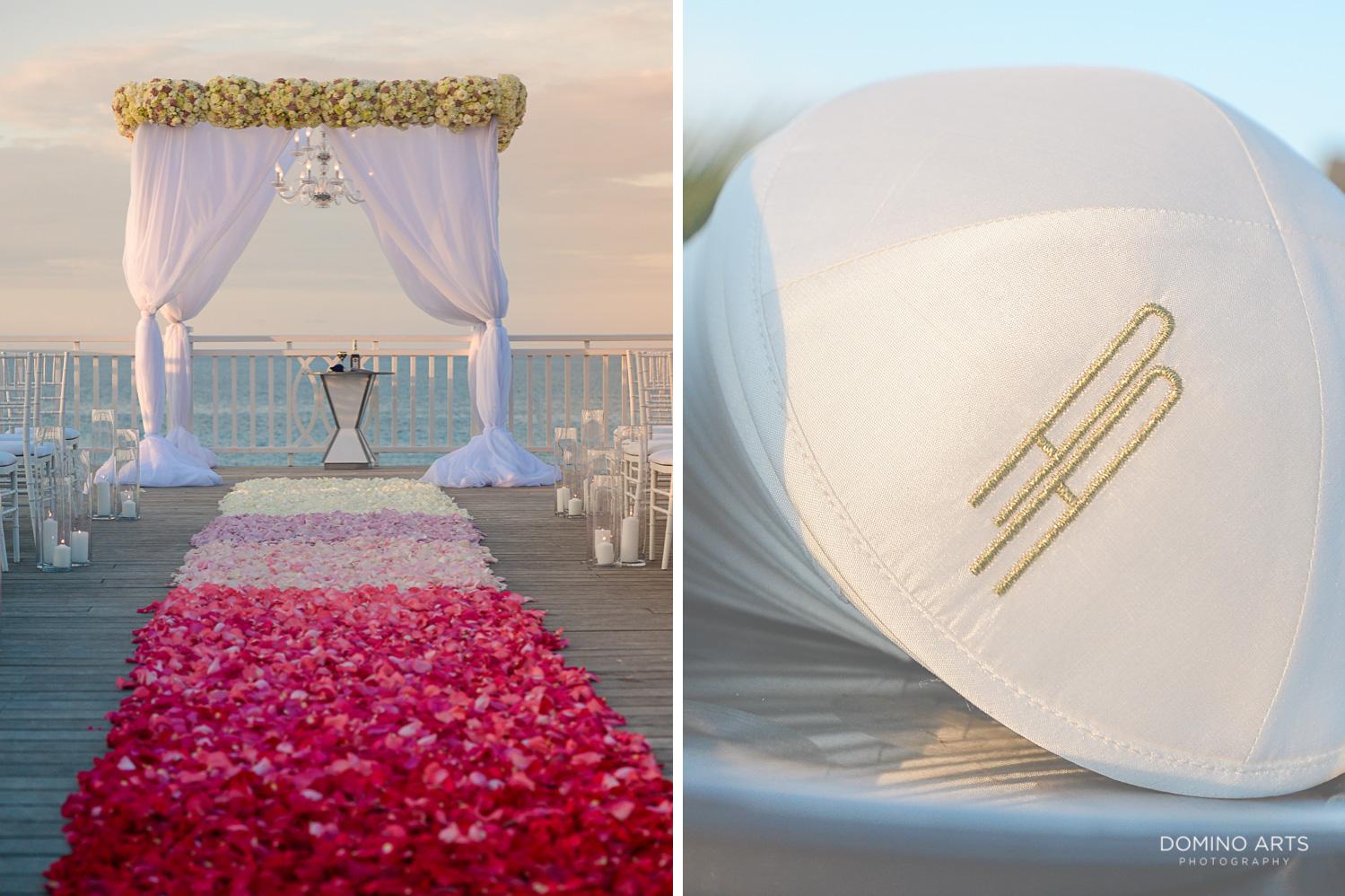 Luxury boutique wedding chuppah décor at One&Only Ocean Club Bahamas