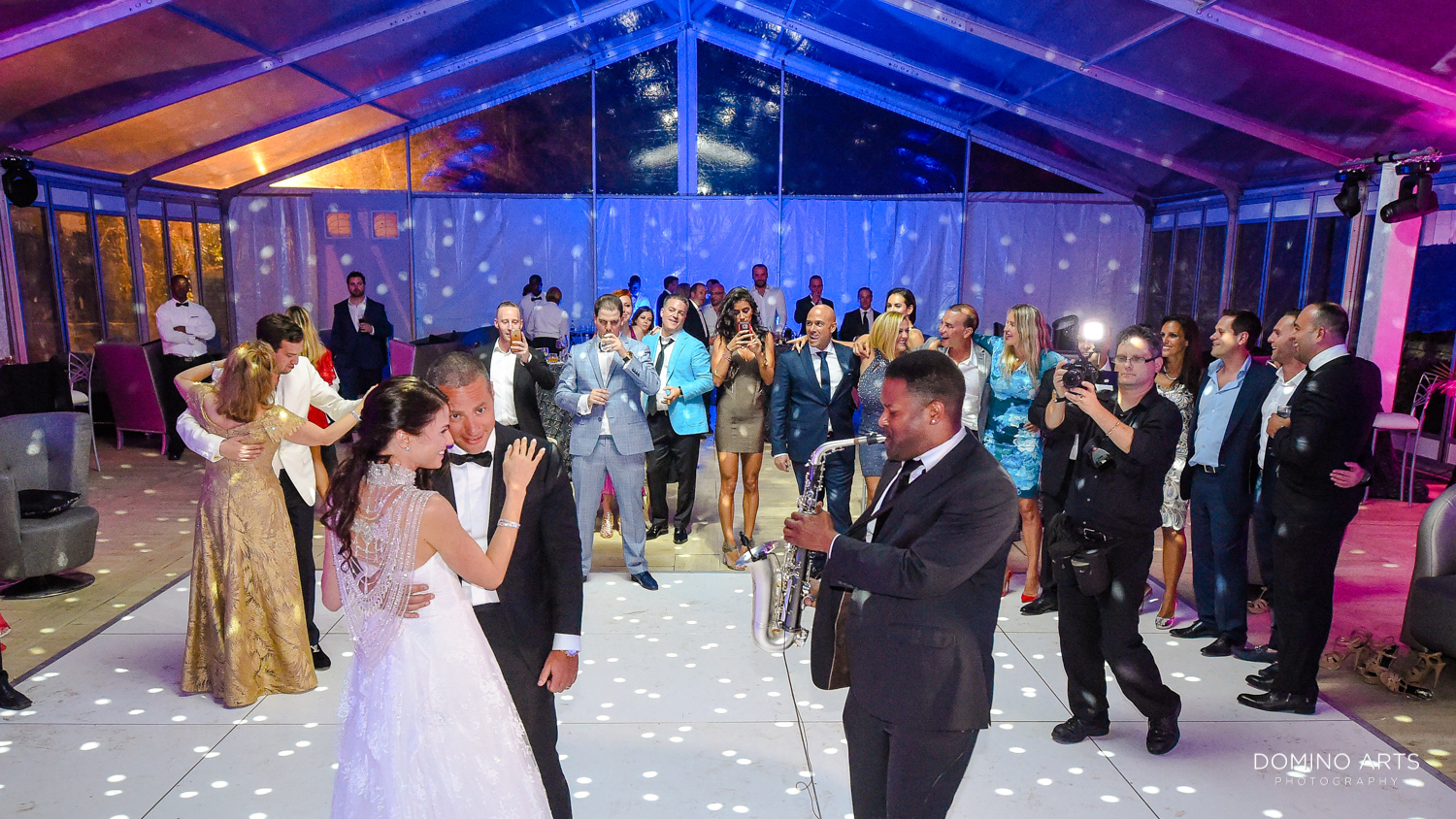 Fun wedding picture of bride and groom at One&Only Ocean Club Bahamas