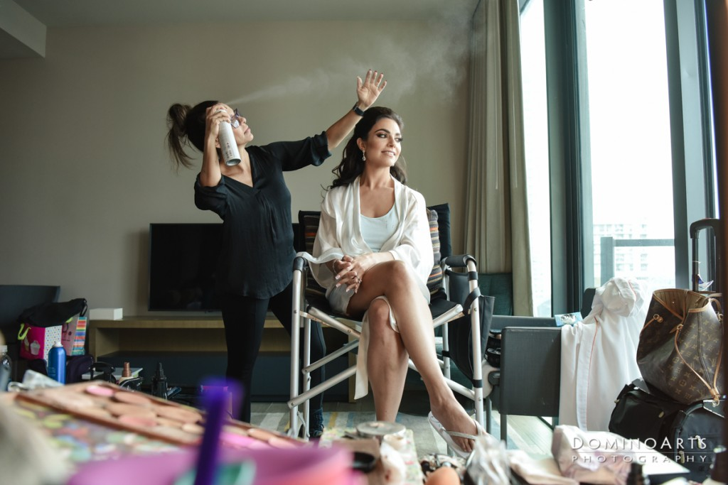 bride getting ready at luxury Destination Wedding at East, Miami