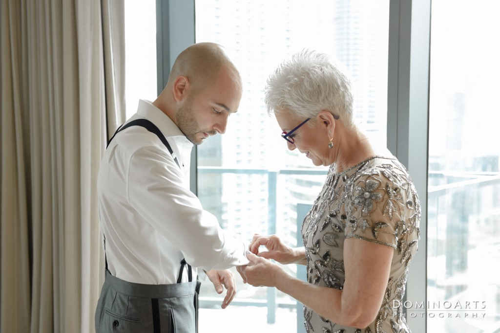 groom getting ready at Luxury Destination Wedding at East, Miami