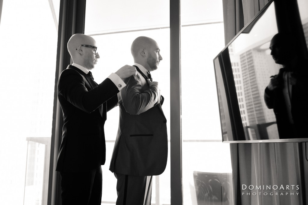 groom getting ready at Luxury Destination Wedding at East, Miami
