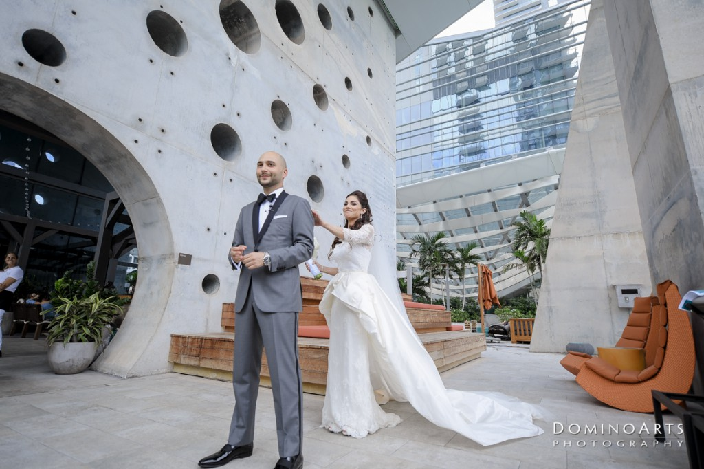 bride and groom first look at Luxury Destination Wedding at East, Miami