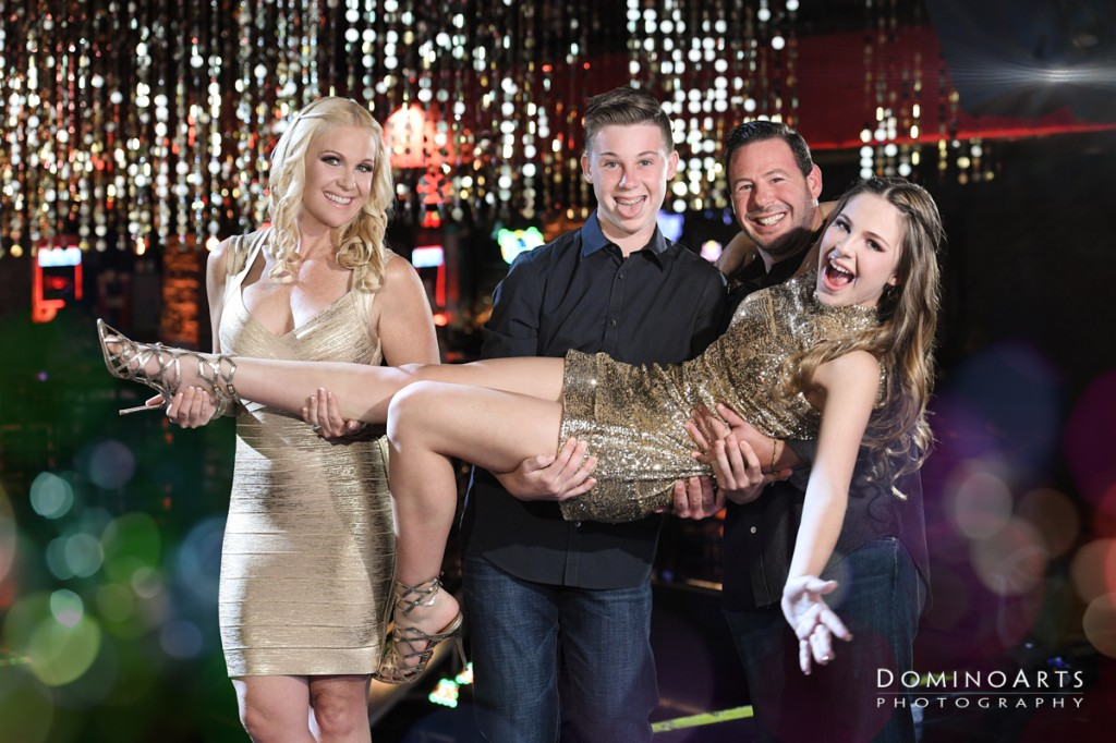 Fun Family Pictures at Gold Glitter Theme Bat Mitzvah at Revolution Live