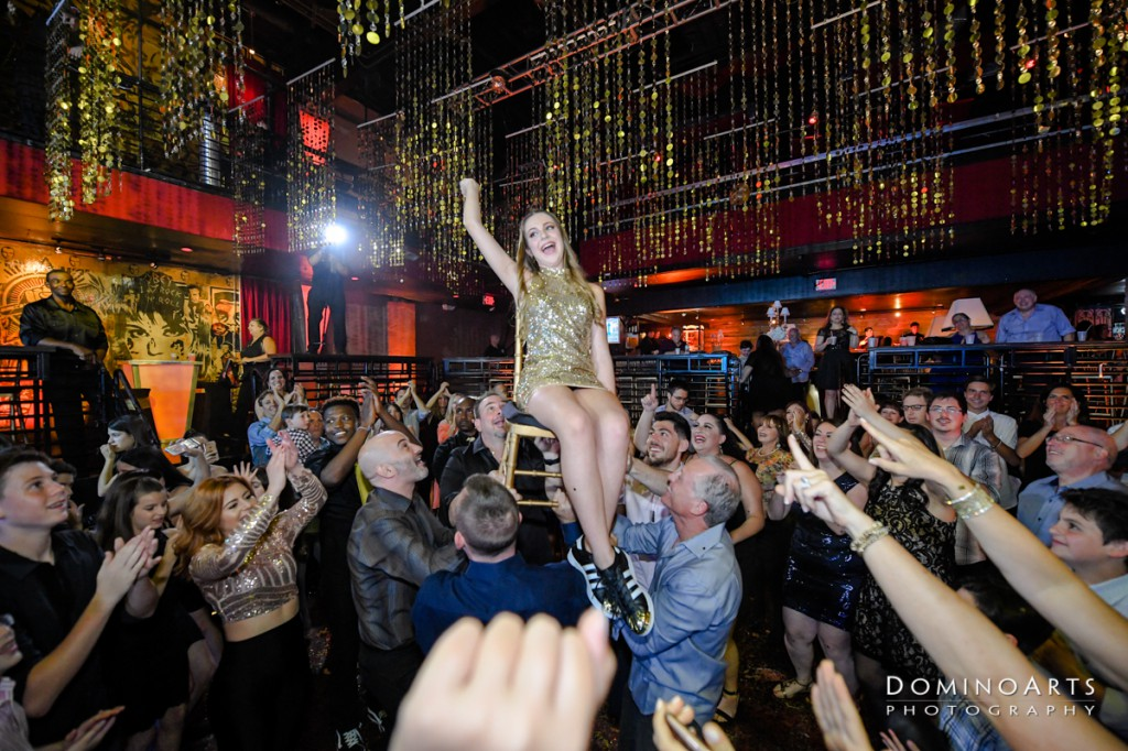 Fun party pictures at gold glitter them Mitzvah at Revolution live fort lauderdale