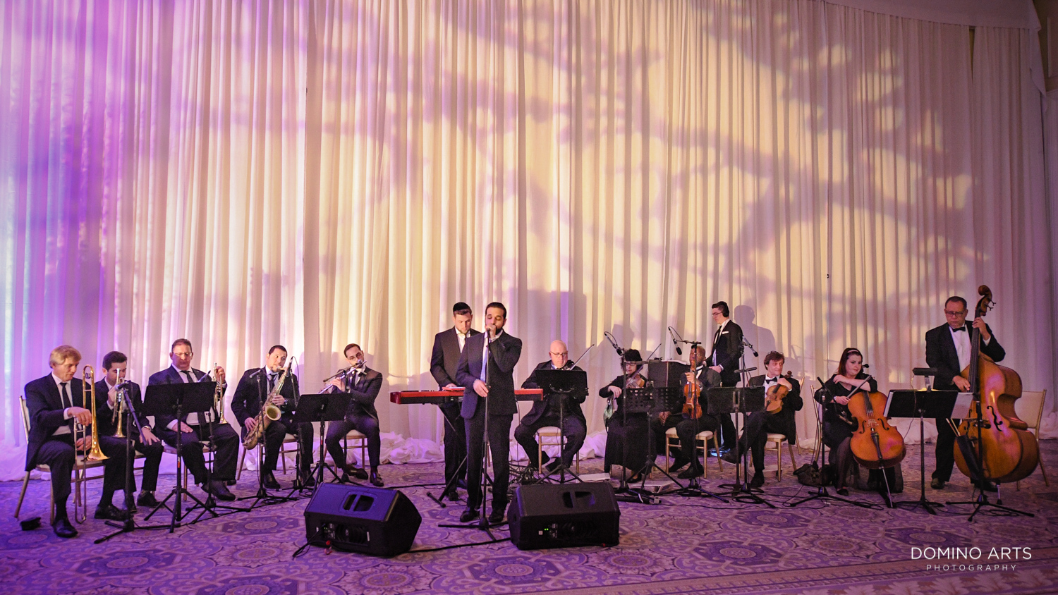 Full Orchestra at Modern Jewish wedding ceremony pictures at Trump national Doral in South Florida