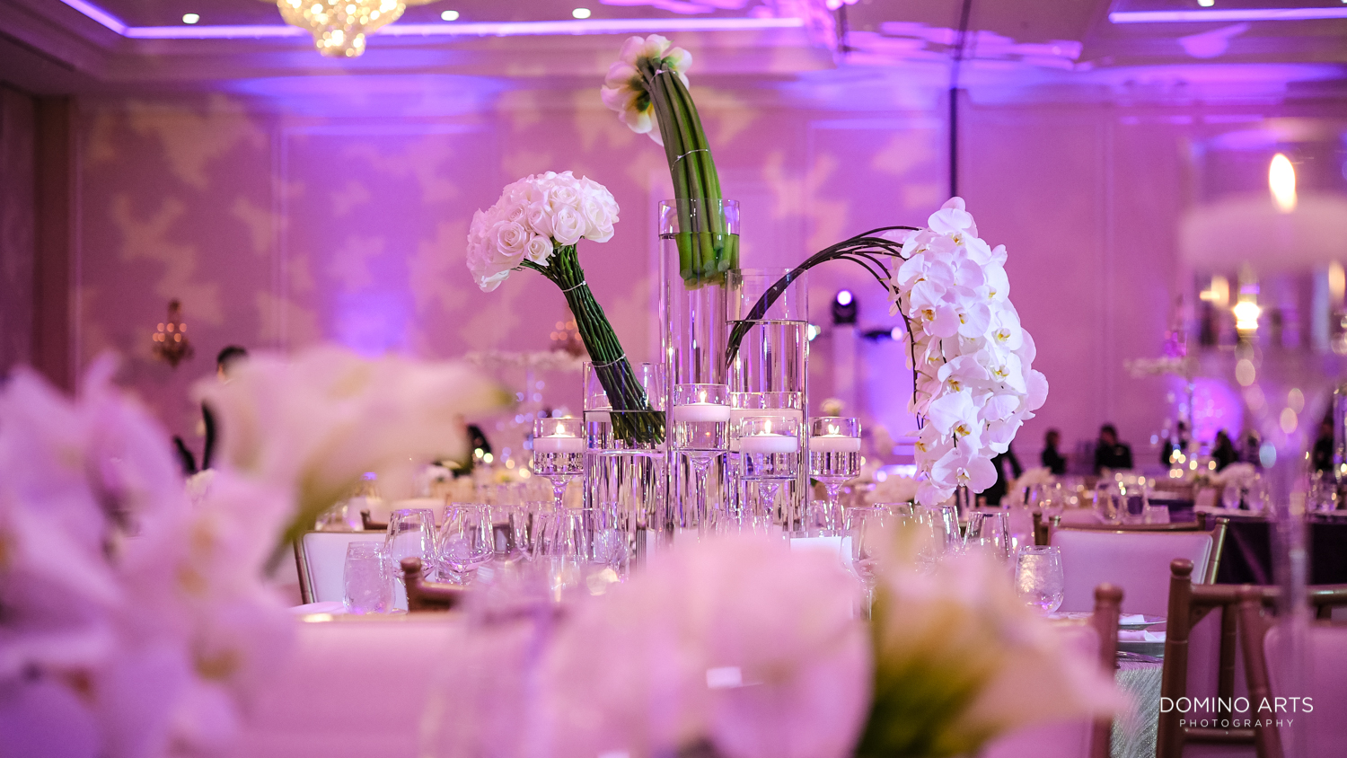 Luxury purple wedding decor at Modern Jewish wedding at Trump national Doral in South Florida