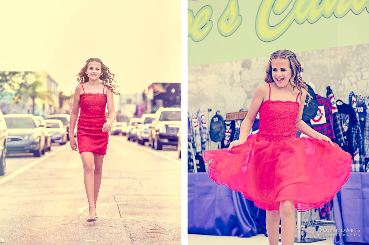 Fun natural spontaneous Mitzvah girl portrait at Maps Backlot in Wynwood Miami
