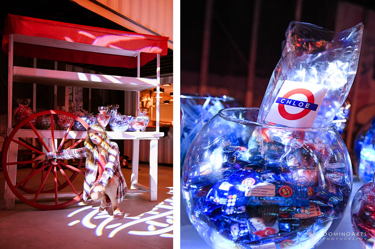Decor and portraits at British theme Mitzvah at Maps Backlot in Wynwood Miami