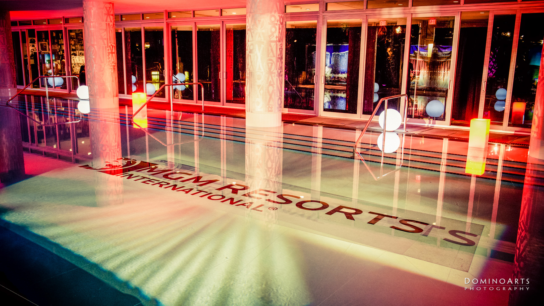 Corporate Event Photography of MGM Resorts International at SLS South Beach, Miami illuminated pool