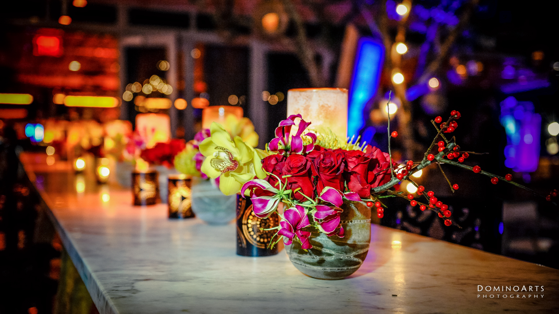 Modern floral decor at Corporate Event MGM Resorts International at SLS South Beach, Miami