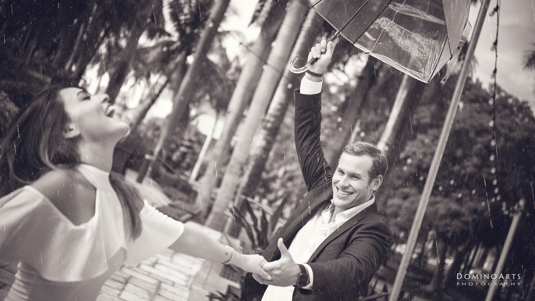 Dancing in the Rain Engagement photography at Riverfront, Fort Lauderdale