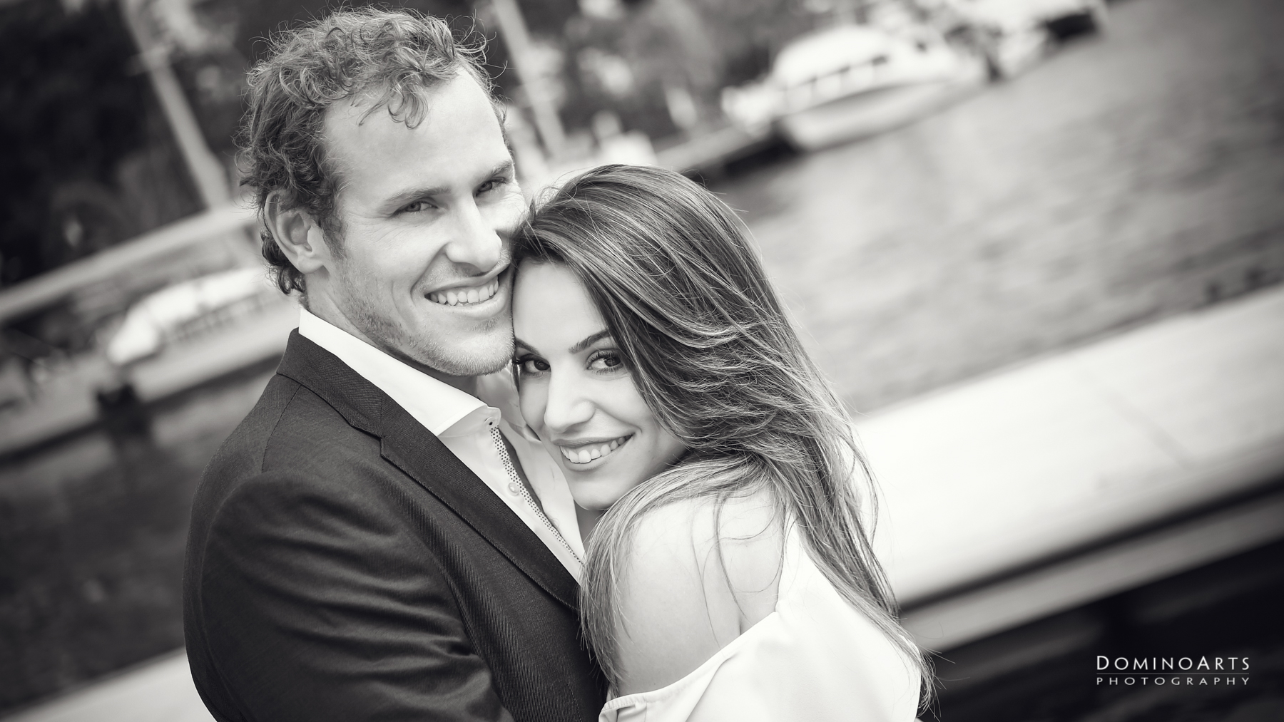 Black and white engagement picture Fort Lauderdale
