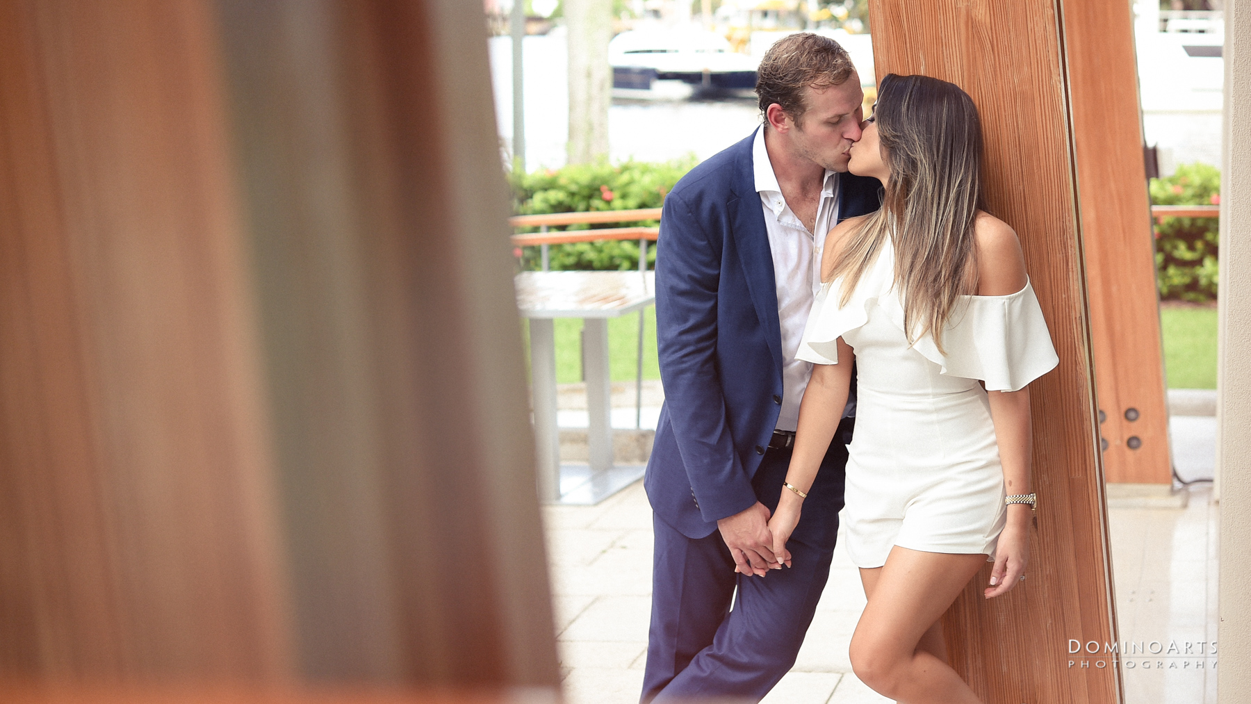 Cute kissing picture at Engagement photography at Riverfront, Fort Lauderdale