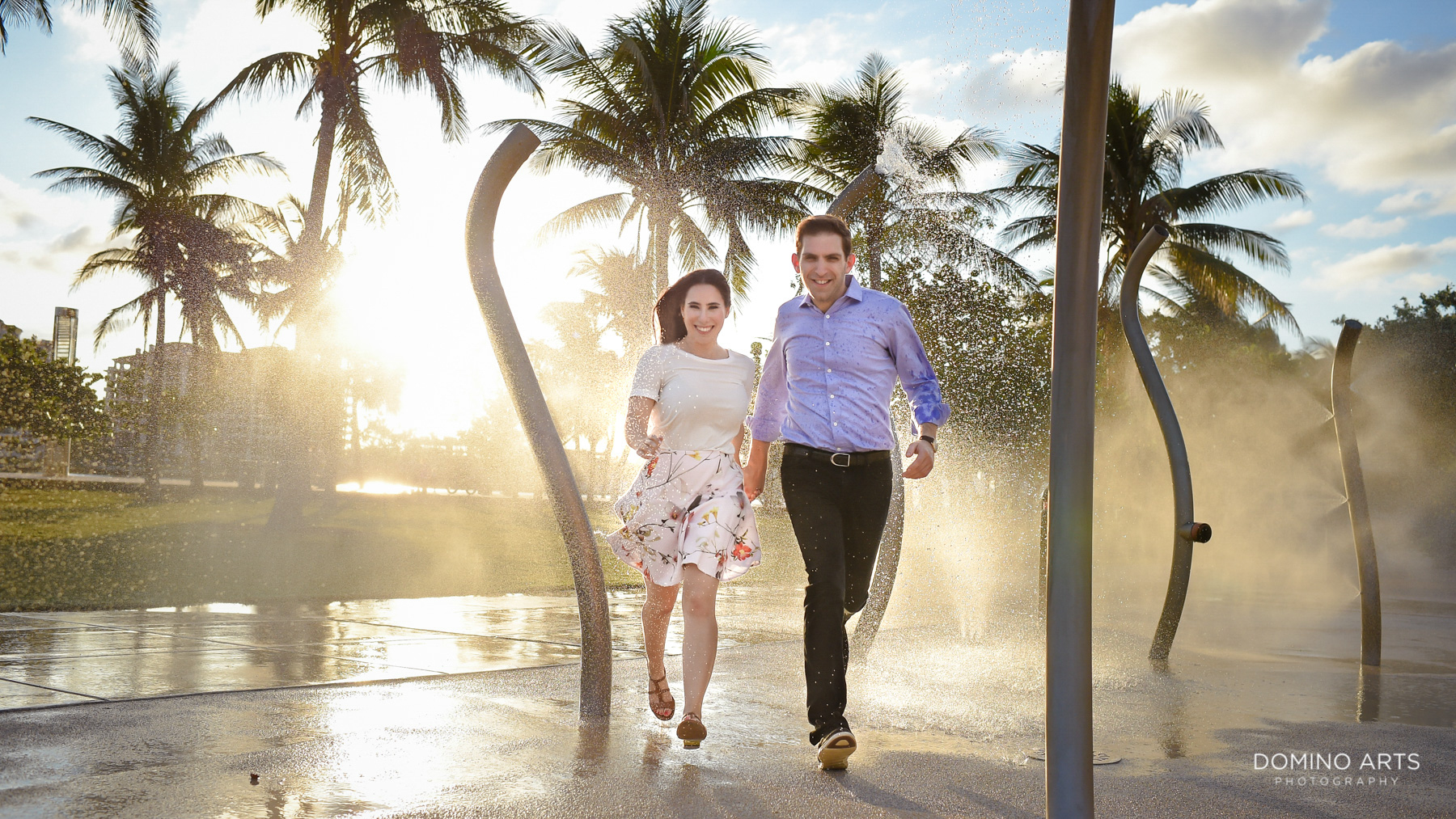 Fun silly natural engagement photos at South Point Park Miami Beach
