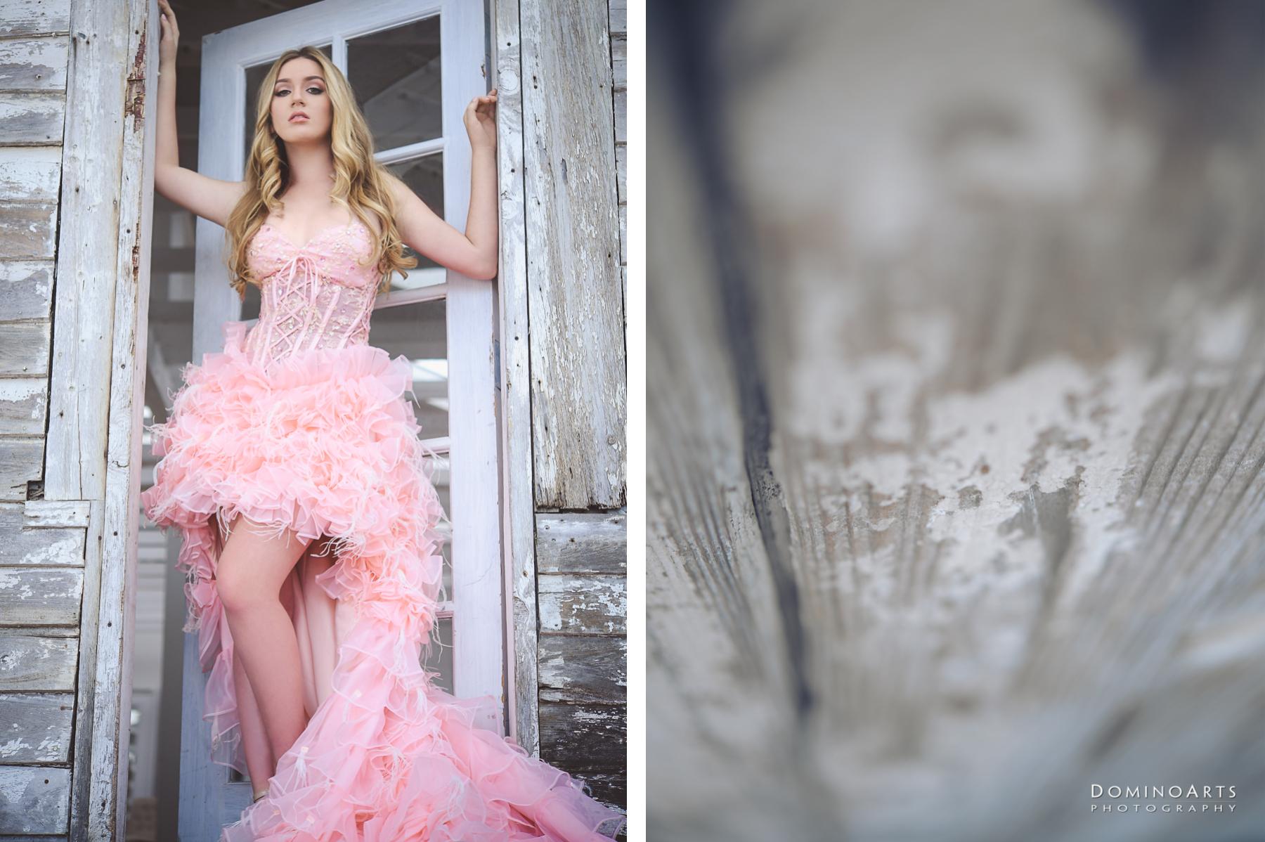gorgeous pink dress quince portrait at little river studio miami