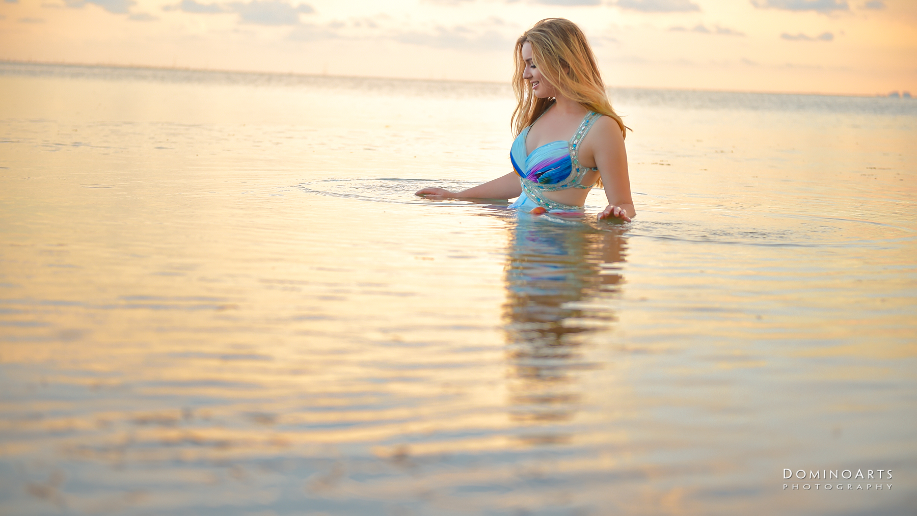 Playing in water model luxury photography south beach miami
