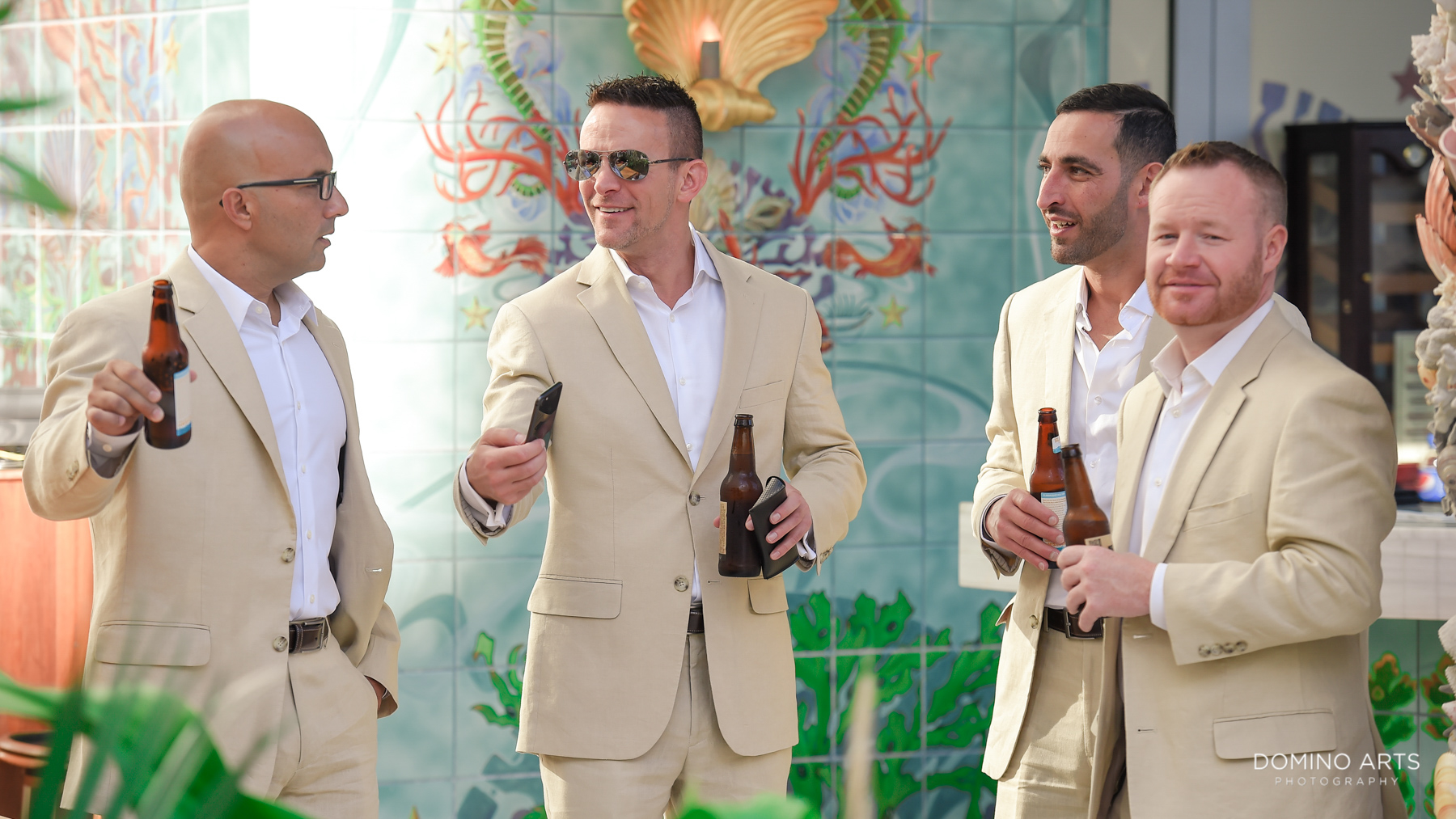 Casual grooms men at Luxury Destination Beach Wedding Photography at Faena Hotel