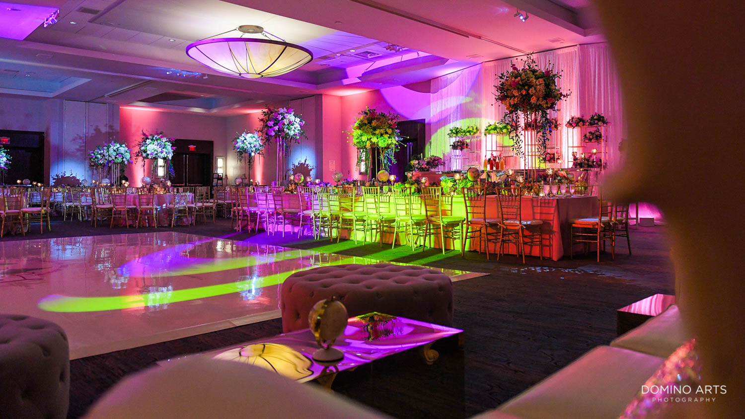 Garden Flowers and travel theme Mitzvah decor pictures at Harbor Beach Marriot