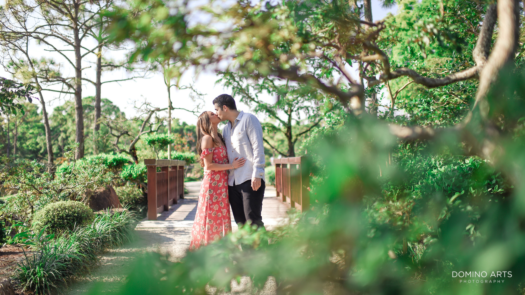 Romantic Outdoor Engagement Photography at Morikami Museum and Japanese Gardens