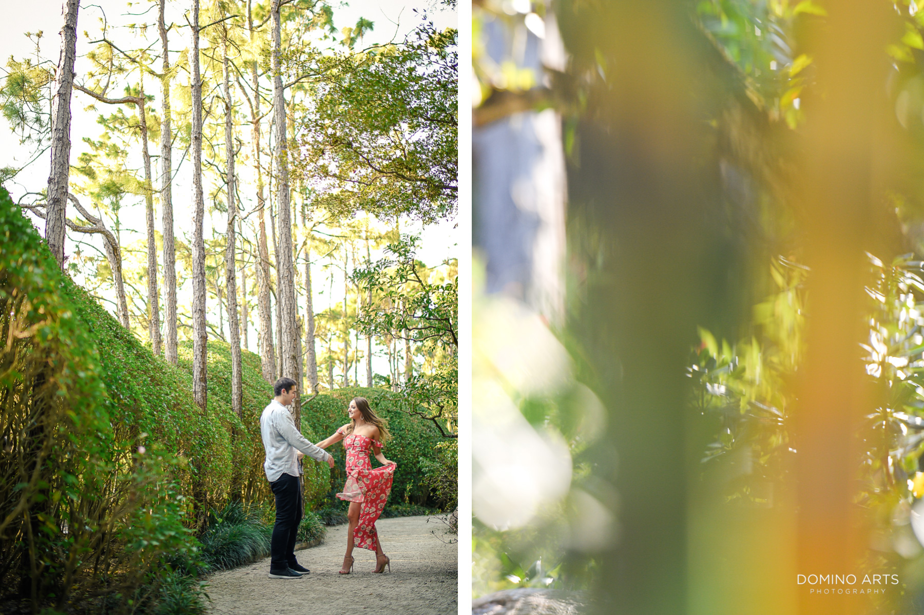 Fun dancing and natural pictures at Morikami Museum and Japanese Gardens Engagement photo session