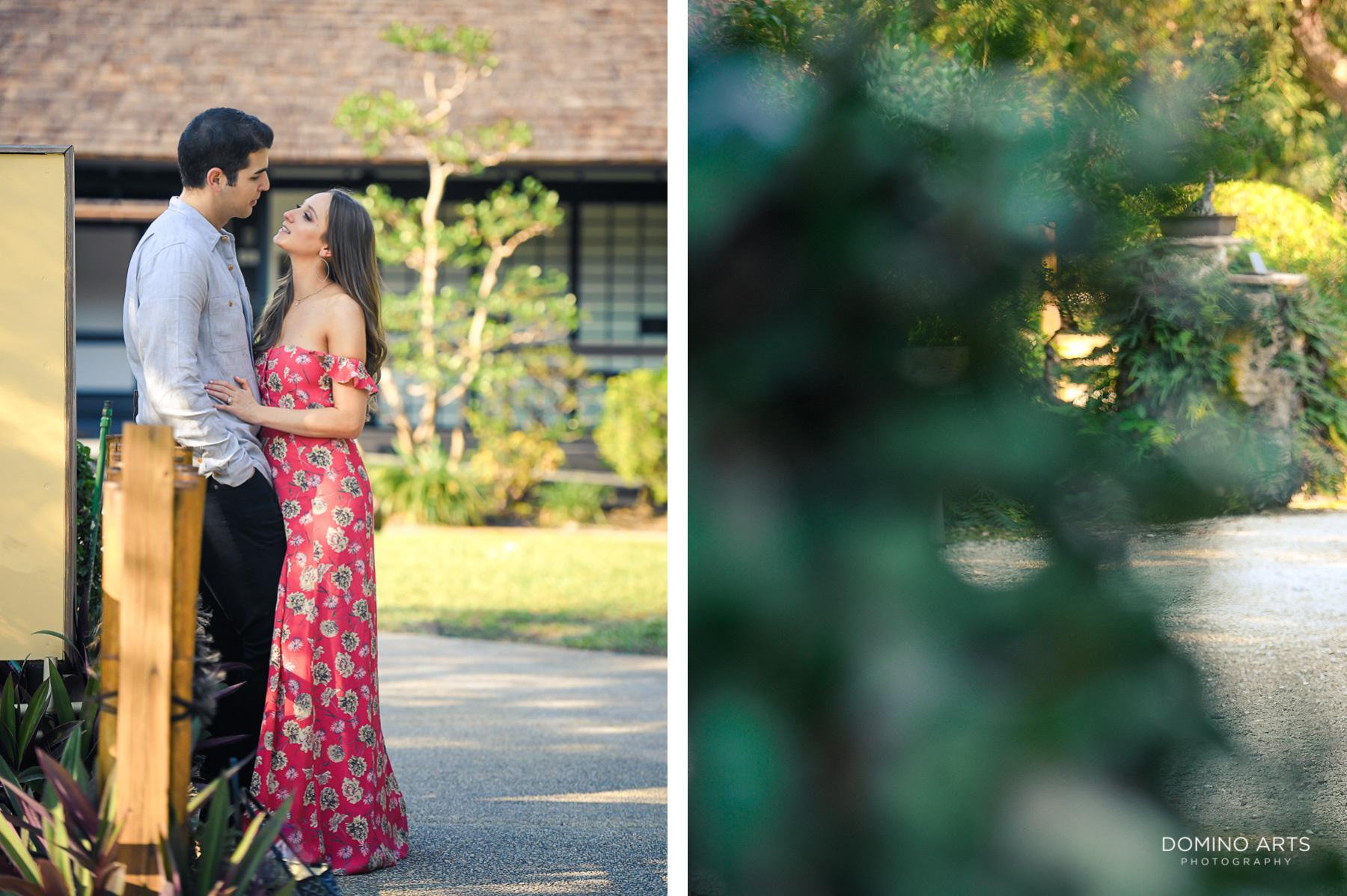 Classic beauty at engagement pictures at Morikami Japanese Gardens