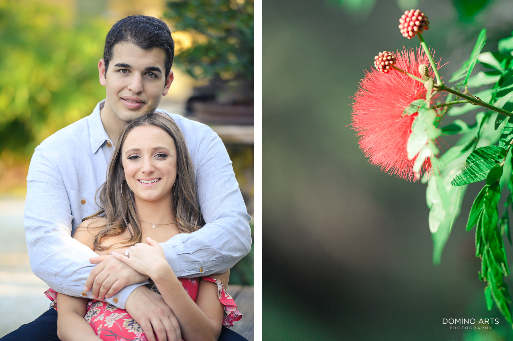 Exotic flowers at Morikami Japanese Gardens engagement