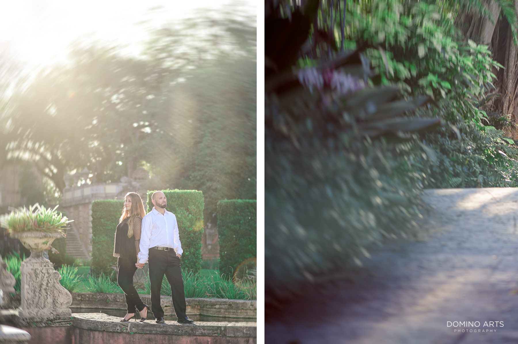 Creative artistic photography at Vizcaya Museum and Gardens Miami Engagement
