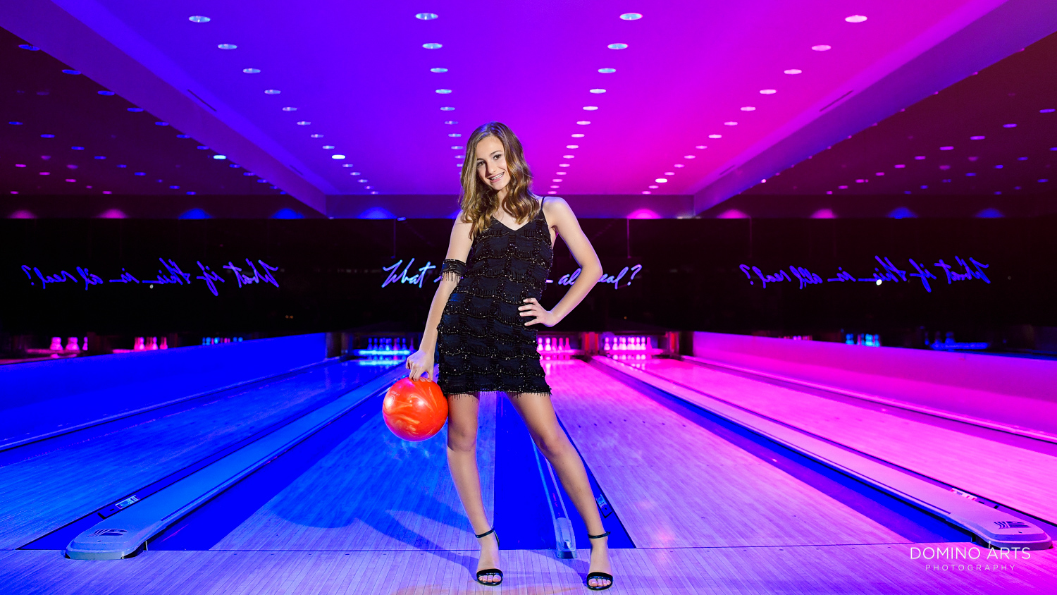 bowling Mitzvah girl fun portrait at Modern Luxury Bat Mitzvah Photography at The Miami Beach EDITION, Florida