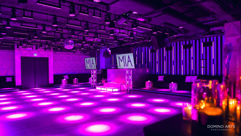 Modern purple luxury decor at Bat Mitzvah The Miami Beach EDITION, Florida