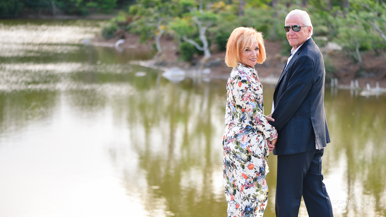 A couple celebrating 70th Birthday at Morikami Museum and Japanese Gardens