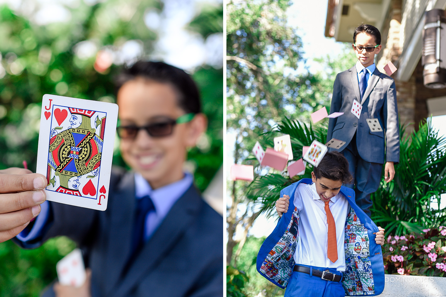 Fun Mitzvah Boy outdoor portrait at Delaire Country Club