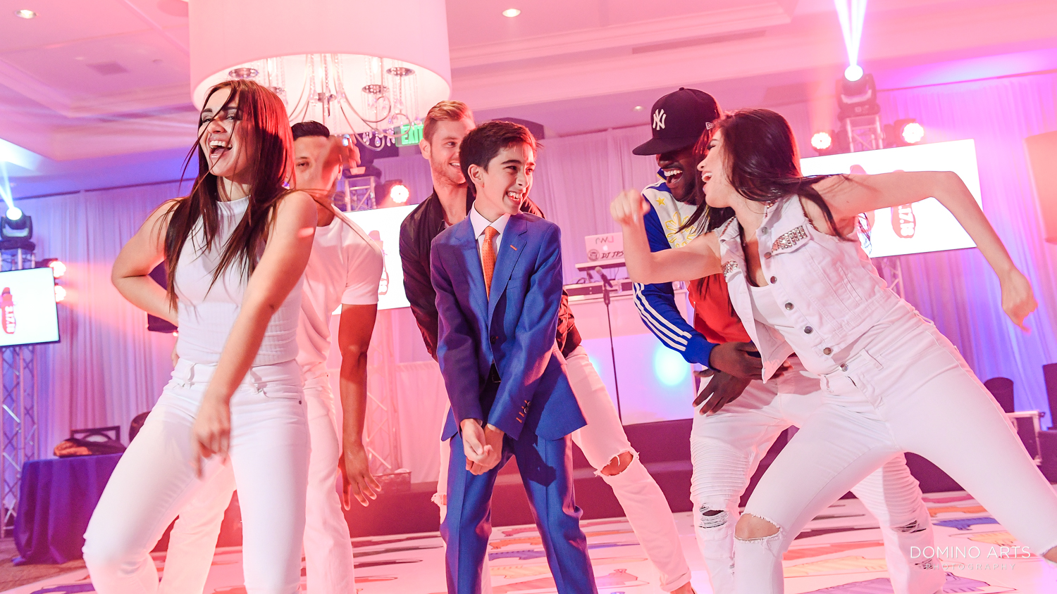 Best Mitzvah entertainment Fun Mitzvah Boy Pictures on Dance Floor at Delaire Country Club
