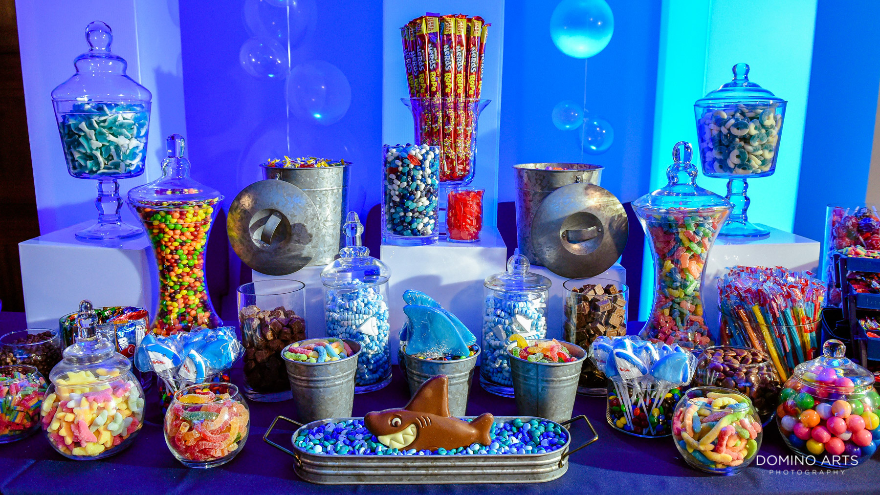 awesome candy table at Unique shark theme and blue decor at Temple Beth El Mitzvah