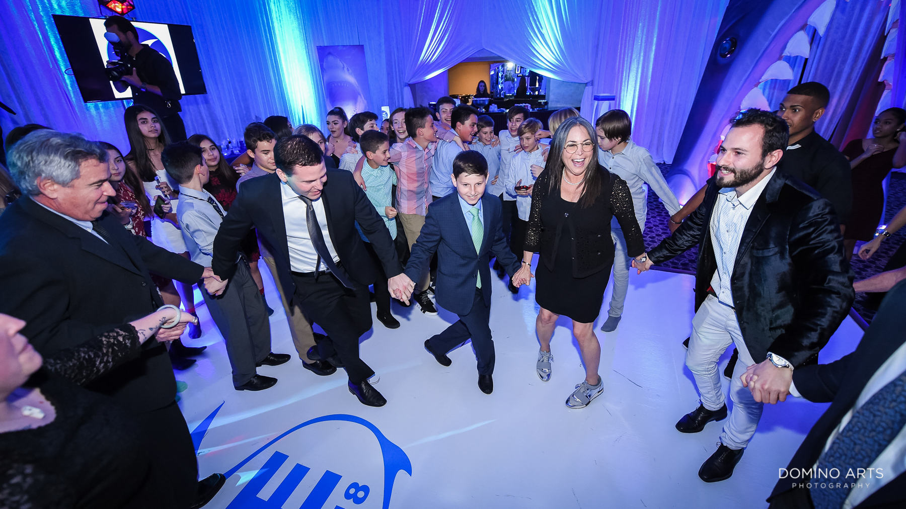 Fun party pictures at unique shark theme mitzvah at temple beth el
