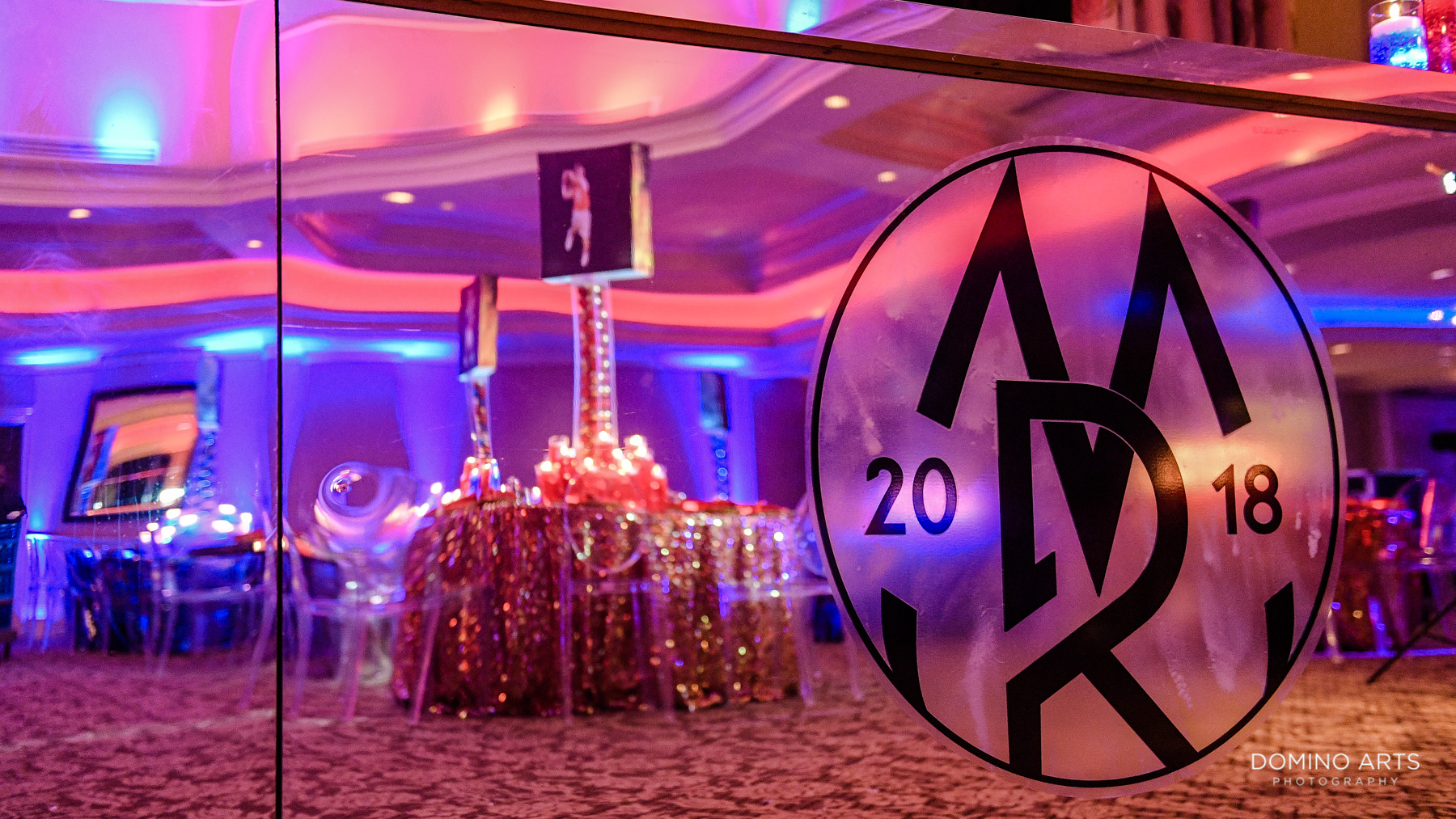 Sports theme mitzvah decor at Broken Sound Country Club