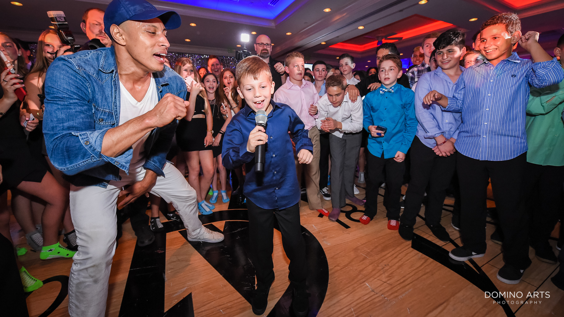 fun party dancing pictures at sports theme mitzvah at Boca Raton Florida