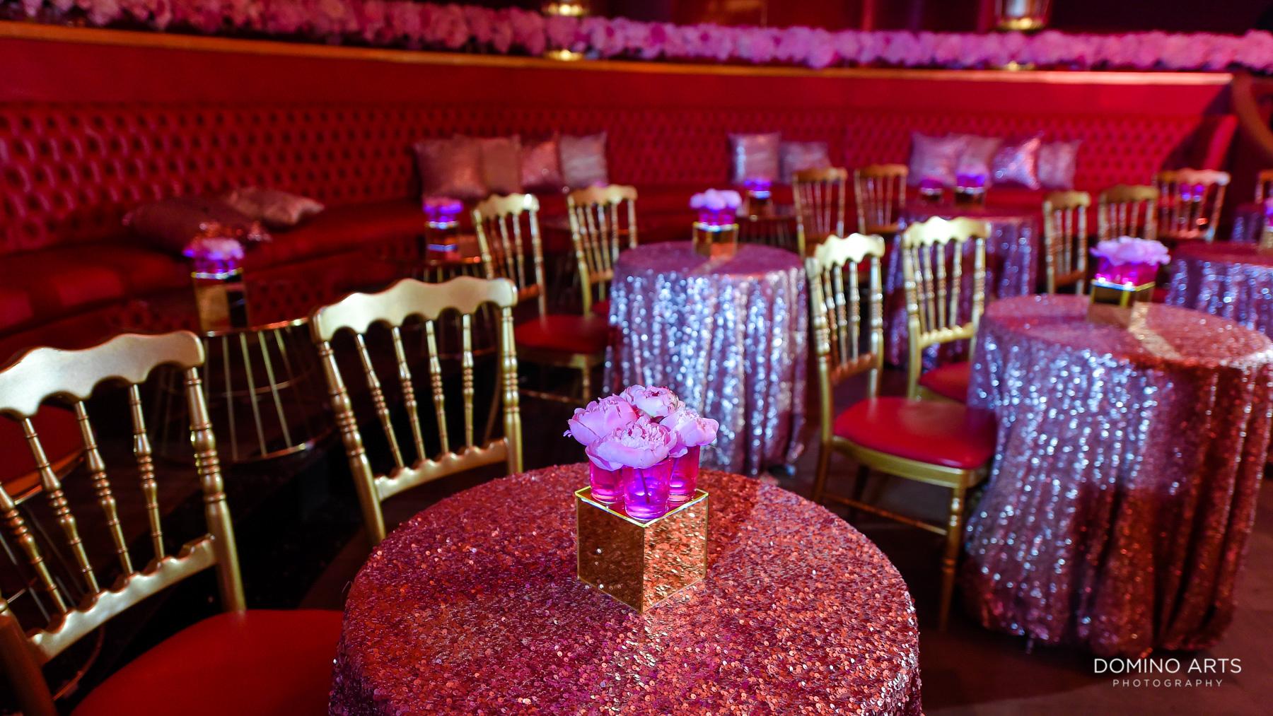 Glitter decor at Luxury Bat Mitzvah at Faena Hotel Theater Miami Beach