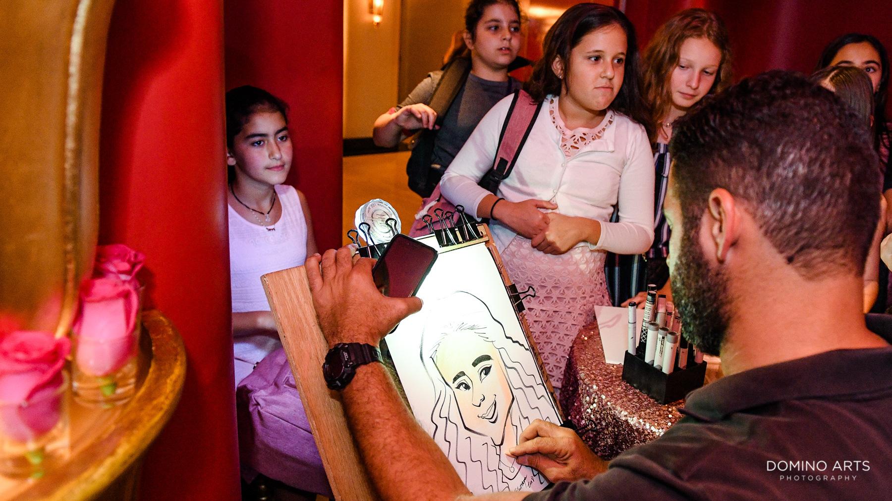caricaturist Fun and entertainment at Bat Mitzvah at Faena Hotel Theater Miami Beach