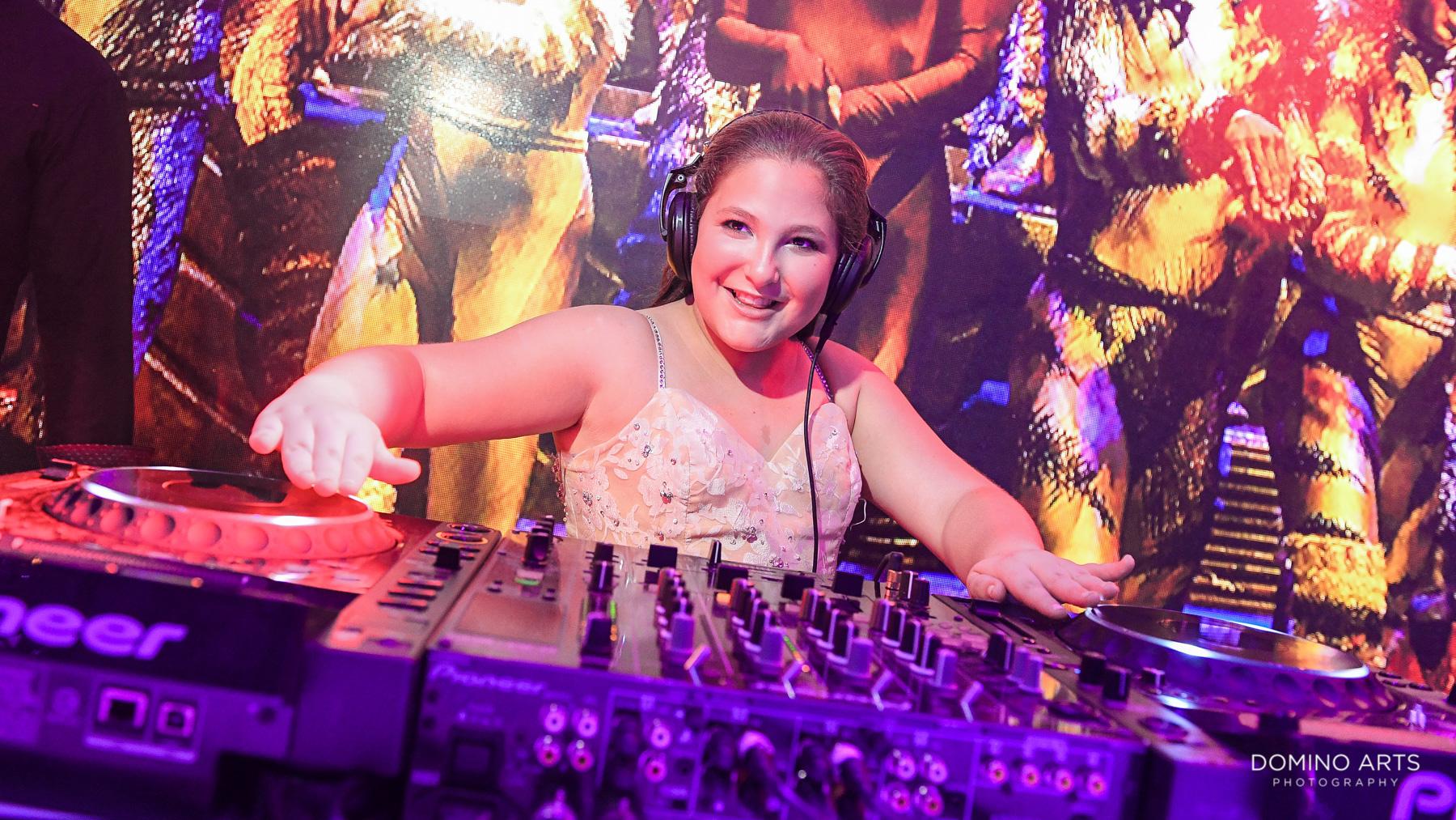 DJ girl at Broadway theme Mitzvah photography South Beach Miami Florida