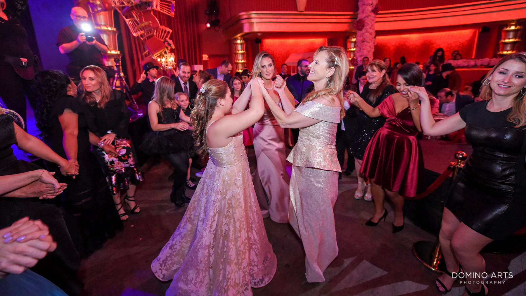 hora and dancing at Broadway theme Mitzvah photography South Beach Miami Florida