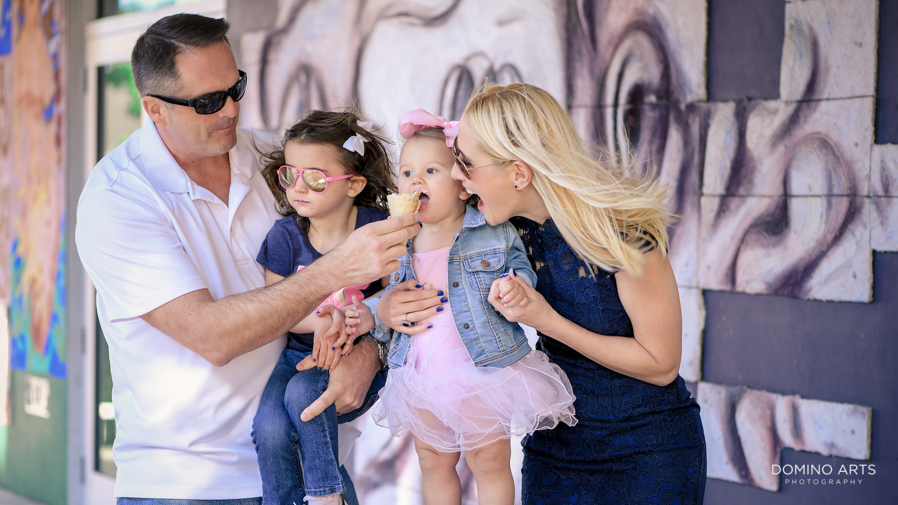 Family fun eating ice cream in Little Havana Miami photo session