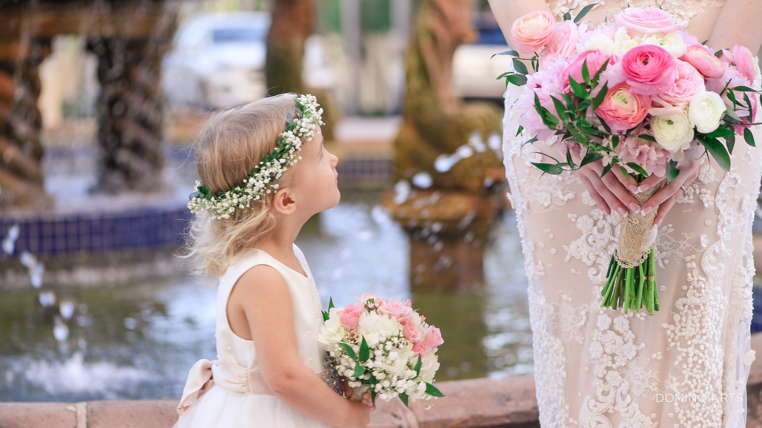 Flower girl bouquet with peony flowers at The Ritz Carlton Sarasota