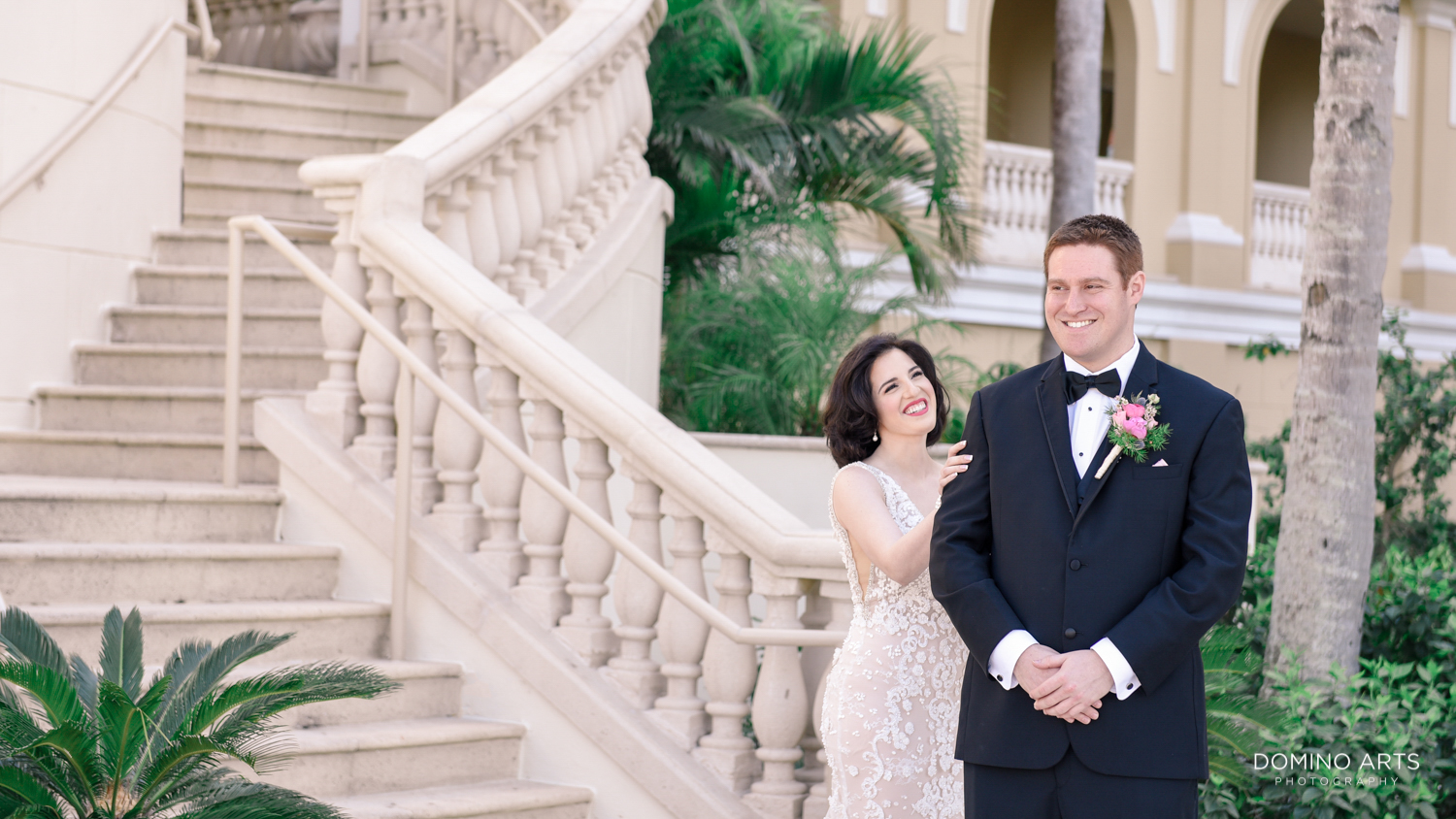First look of a bride and groom at The Ritz Carlton Sarasota
