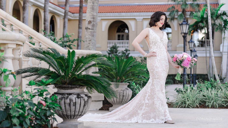 Elegant wedding photos of a bride at The Ritz Carlton Sarasota