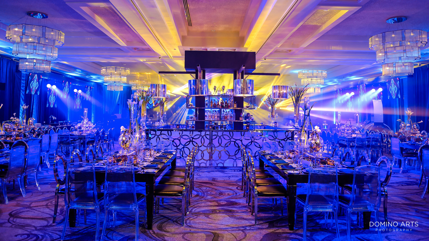 Unique and trendy Bar Mitzvah party and décor with laser light show at Woodfield Country Club Boca Raton